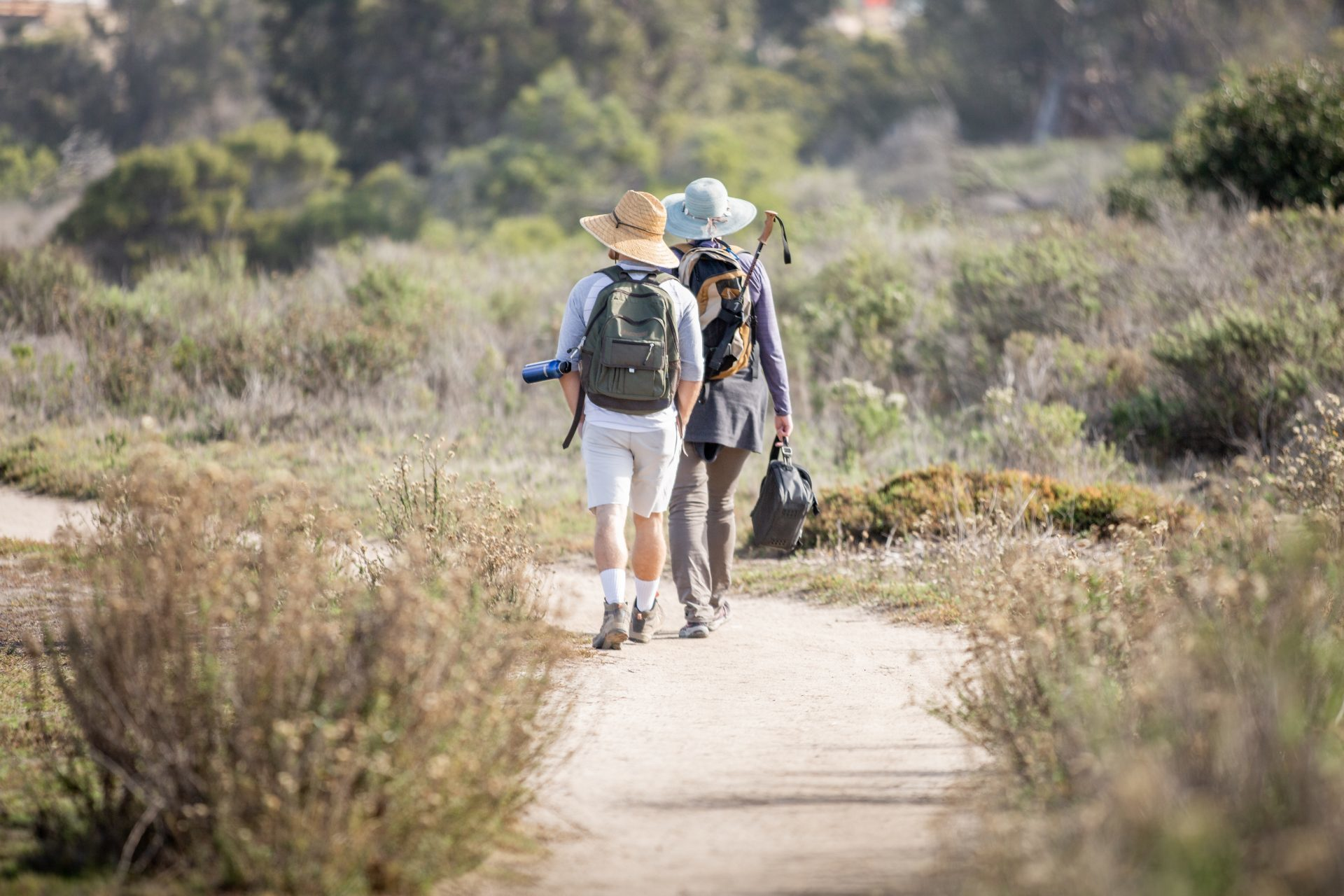 Two people walking along a nature trail